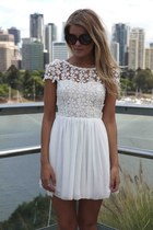 WHITE SPLENDED ANGEL LACE TULLE DRESS