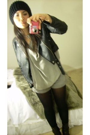 no name jacket - Zara top - H&M shorts - Target tights - Zara - vintage necklace