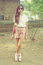 light pink Topshop shorts - hot pink vintage bag - cream Topshop socks