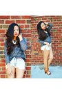 Gray-forever-21-sweater-white-urban-outfitters-shorts