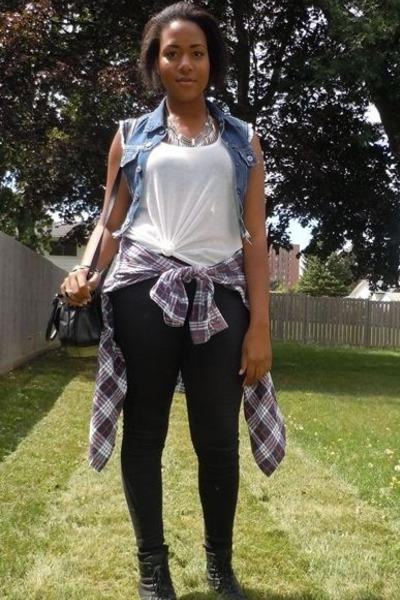 denim diy vest - black lace-up Spring boots - black Topshop jeans - black bag