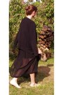 Black-asos-skirt-black-zara-cardigan-navy-made-in-france-top