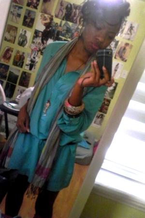 blue dress - purple Forever 21 scarf - black Shiekh boots - black belt - pink Fo