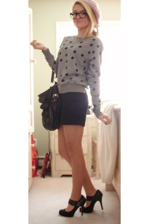 gray Forever 21 sweater - black Metro Park bag