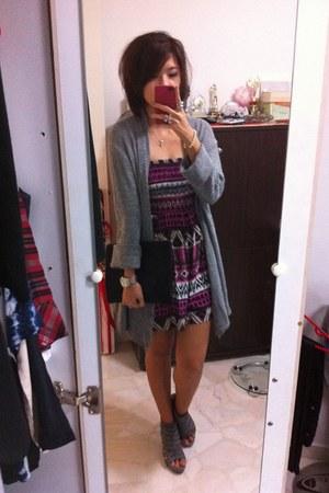 DKNY bag - tribal prints Her Velvetvase romper - odorikoya wedges - Zara cardiga