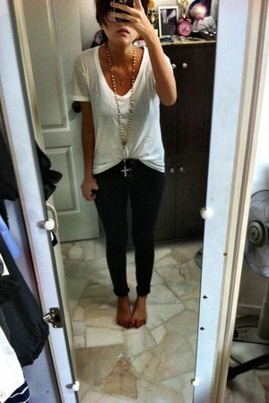 Topshop jeans - Brandless from Bangkok t-shirt - Forever21 necklace