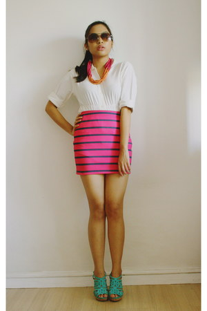 Seventeen top - bandage Bershka skirt - H&M wedges
