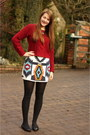 Brick-red-motel-rocks-jumper-white-tribal-print-zara-skirt
