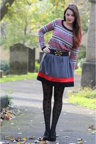 red Primark sweater - dark gray polka dot Primark tights