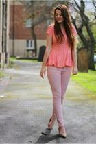 salmon peplum Matalan top - light pink Only jeans