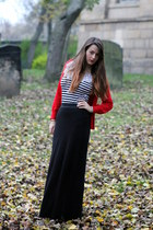 red new look cardigan - black maxi Ebay skirt - black Republic top