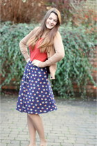 navy Debenhams skirt - camel George At Asda cardigan