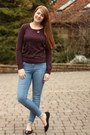 Light-blue-topshop-jeans-brick-red-elbow-patch-glamorous-jumper