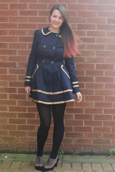 navy Primark coat - black M&S tights - camel italian heels