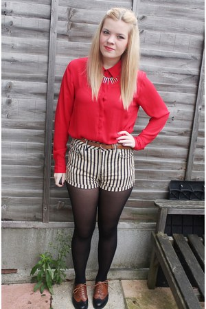 black striped Topshop shorts - red new look shirt