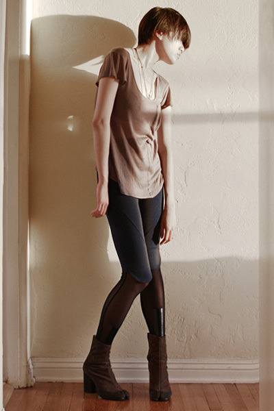 gray a ok top - blue VPL leggings - black Cheap Monday leggings - brown MMM boot