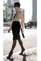 black Hugo Boss skirt - black untitled stockings - neutral Villa blouse