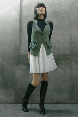 emporio armani vest - vince top - Hugo Boss dress - socks - Miss Sixty boots