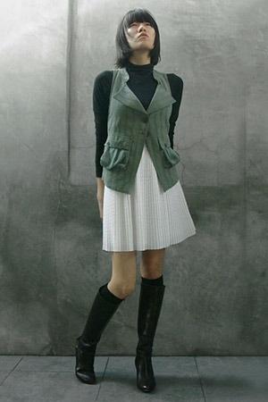 emporio armani vest - vince top - Hugo Boss dress - socks - Miss Sixty boots