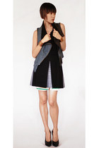 blue yigal azrouel vest - black balenciaga skirt - black Enza Costa top