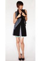 blue yigal azrouel vest - black balenciaga skirt - black Enza Costa top