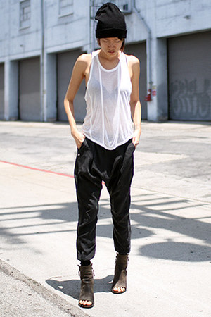 charcoal gray marsell boots - black asos hat - white t by alexander wang top