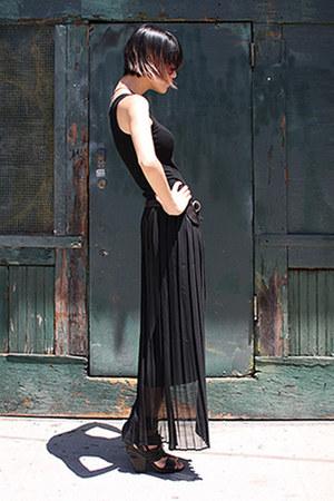 black Enza Costa dress - ruby red Derek Lam sunglasses
