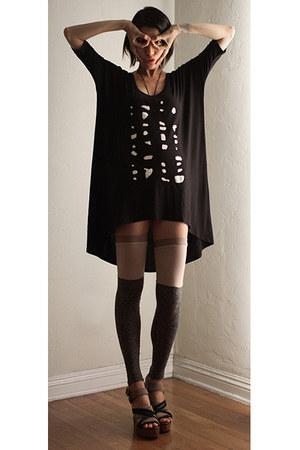 black mary meyer dress - beige VPL stockings - light brown Marni sandals
