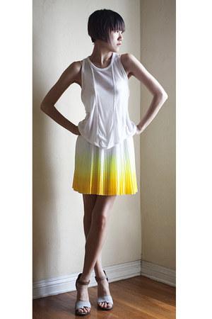 yellow Hugo Boss dress - white t by alexander wang top - beige LD Tuttle sandals