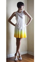 yellow Hugo Boss dress - white t by alexander wang top - beige LD Tuttle sandals