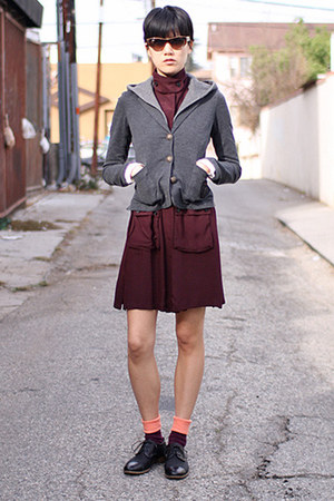 crimson Opening Ceremony dress - charcoal gray haute hippie blazer