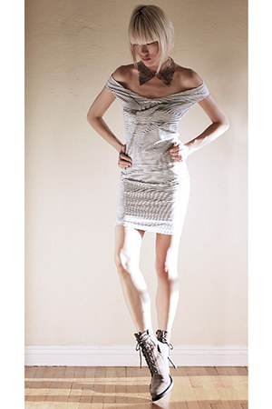 white Hussein Chalayan dress - tan ann demeulemeester boots