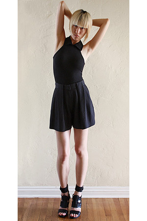 black Alexander Wang shorts - black asos bodysuit - black LD Tuttle sandals