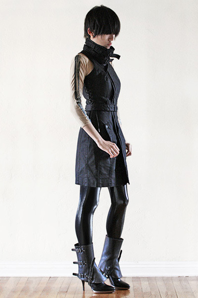black Twenty8Twelve dress - black Hugo Boss boots - black Black Milk leggings