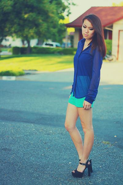 navy sheer mesh American Apparel blouse - aquamarine lace Forever 21 shorts