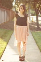 light pink mullet high-low Forever 21 skirt - black mesh Bronte & Tallulah top