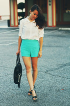aquamarine lace Forever 21 shorts - white button-up Forever 21 shirt
