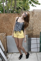 light yellow Bongo shorts - black shirt - black we who see wedges