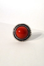 red faux stone vintage ring