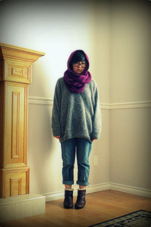 silver sweater - purple scarf - blue jeans - brown boots