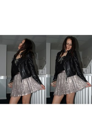 black leather jacket - light pink lace skirt