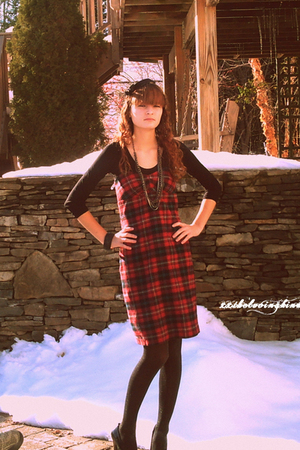 red plaid dress - black Steve Madden shoes - black sparkly American Eagle tights