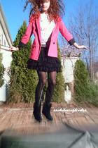 pink Topshop blazer - black skirt - black Steve Madden boots - black American Ea