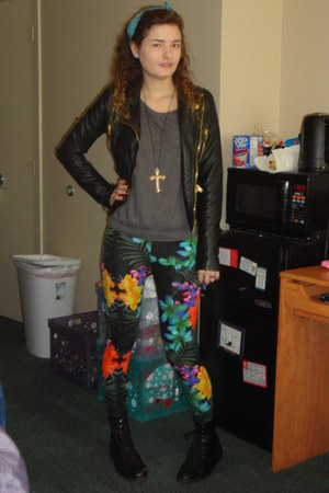 leather Forever 21 jacket - tropical print new look leggings