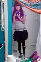 H&M shirt - skirt - Claires tights - Converse shoes - Hot Topic belt - accessori