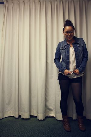 blue Forever 21 jacket - pink Forever 21 top - black tights - black shorts - bro