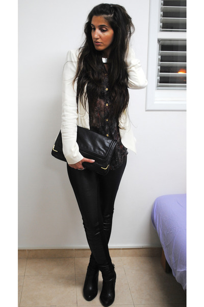 deep purple Topshop blouse - black leather Topshop pants