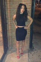 black crop top custom made - black pencil skirt custom made
