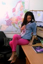 bubble gum vintage scarf - hot pink Jeans jeans - sky blue denim Cubus shirt