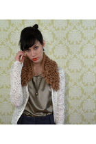 brown YarnOverMovement accessories - Blouse blouse - vintage lace cardigan